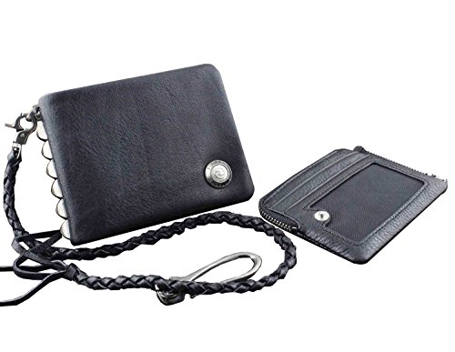 Wallet Black Men's Chain w Studded Rocker Zipper Genuine Leather Biker wqxfYOq7z