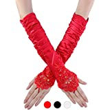 TecUnite 3 Pairs Ladies Fingerless Lace Gloves Sequins Satin Gloves Long Gloves Over Elbow Shiny Satin Bridal Opera Gloves, 14 Inches for Women and Girls