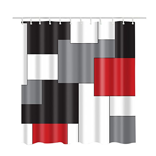 Grey Custom Fabric (Custom Shower Curtains Print White,Grey,Light Black and Orange Red,Irregular Geometric Splicing Bath Curtain,Waterproof Mildew Resistant Polyester Fabric,Decorative Bathroom Bath Accessories 66
