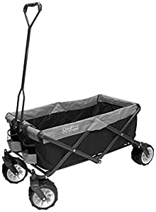 Creative Outdoor Distributor 900557 All-Terrain Folding Wagon, (Black/Grey) - Multipurpose Cart for Gardening, Camping, Beach Trips, and Traveling