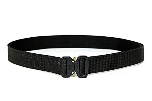 WOLF TACTICAL Heavy Duty Cobra EDC Belt - Stiffened 2-Ply Nylon Gun Belt for Concealed Carry CCW Holsters Pouches Military Combat Duty Wilderness Hunting Survival (Black, L (36-39)) (Officer Magazine Military)
