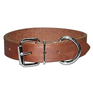 Leather Brothers RTEN1-23 1 x 23-Inch Regular Large Dog Bully Collar, X-Large, Brown