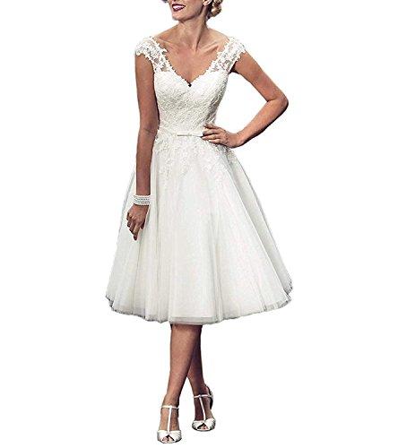 Damen Spitze Abendkleider Hochzeitskleid Carnivalprom Ballkleid Kurz Sheer 02 Elegant Elfenbein Brautkleid dqxgPa