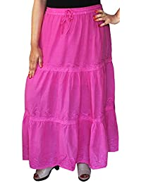 Maple Clothing Womens Solid Embroidered Cotton Skirt Indian Apparel