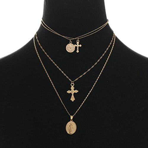 (YJYDADA Pendants,Vintage Style Simple Notre Dame Cross Pendant Multilayer Necklace (Gold))