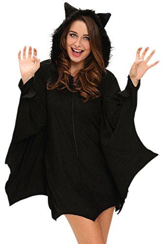 [VIGVOG Women's Adult Bat Halloween Cosplay Costume Black Hoodie] (Diy Costume)