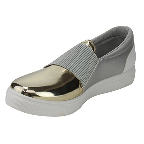 Refresh Ie21 Damessweater Metallic Slide In Fashion Platform Sneakers Run One Size Large Champagne