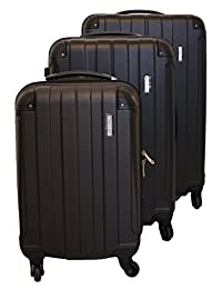 ICE CANADA 3-Piece Luggage Set made from ABS - Large, Medium and Carry On Suitcase with Wheels, Lock, and Telescopic Handle Luggage Spinner Hardside Lightweight Hard Side ABS (Black)