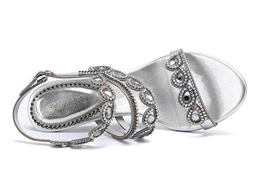 Ballo nuziale Festa Sera 8 41 Diamante silver di fine Nozze Tacco sandali EUR UK ZPL anno medio Donna n8xFwCzzq1