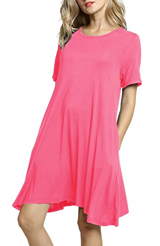 Afibi Women's Short Sleeve Loose Pockets Dress Casual Swing T-Shirt Dresses (Medium, Pink)