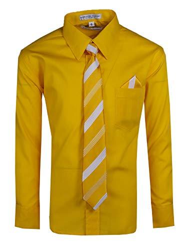 Tuxgear Boys Long Sleeve Button Up Dress Shirt with Necktie, Yellow Gold, Boys - Gold Yellow Barrel