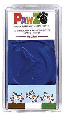 Pawz Blue Water-Proof Dog Boot, Medium, Up to 3-Inch (Rubber Boots Dog)