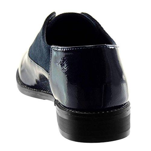 clouté 2 Talon Verni Derbies Bloc Foncé Angkorly CM bi perforée Mode Bleu Femme Chaussure on Slip 5 matière 8qffOwzxnP