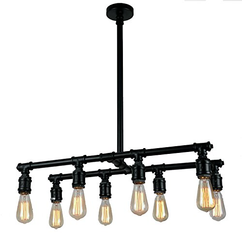 UNITARY BRAND Vintage Metal Water Pipe Island Chandelier Max 320W With 8 Lights Black Finish