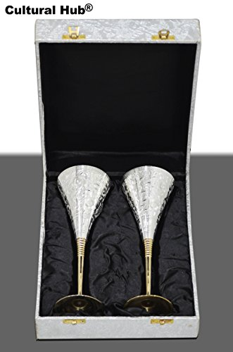 JK-690-0366 Set of 2 Silver Plated Brass Wine Goblets with original Red Velvet Box, Silver Plated Brass Champagne Flutes, Engraved Wine cups, Engraved Champagne Flutes, Silver Plated goblets, Brass Wine cups, Gift Set, Embossed Brass Goblet, Silver wine flutes (9.5