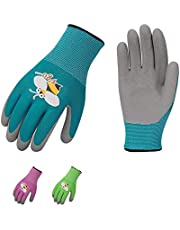 Vgo 3 Pairs Age 3-9 Kids Gardening,Lawing,Foam Rubber Coated,Working Gloves(3 Colors,KID-RB6013)