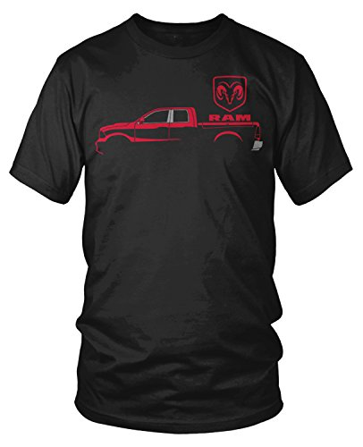 Amdesco Men's Ram Trucks, Red Truck Silhouette T-Shirt, Black XL (Best 2500 Truck 2019)