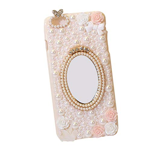Fusicase for iPhone 6 Plus/iPhone 6S Plus Fashion Luxury 3D Flower Bowknot Peace Dove Love Artificial Pearl Diamond Protective Cover with Cosmetic Mirror Case for iPhone 6 Plus/iPhone 6S Plus