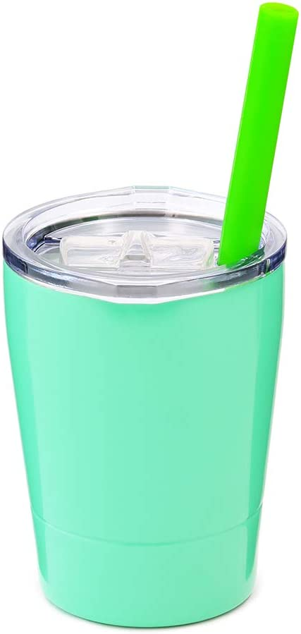 Colorful PoPo Kids Stainless Steel Cup Lovely Small Rambler Tumbler, Double Wall Vacuum Insulated Water Bottle with Lid and Silicone Straw, 8.5 OZ (1, Mint Green)