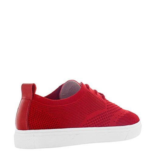 Vlado Footwear Mens Venezia Wingtip In Tessuto Bianco Top Sneaker Rosso