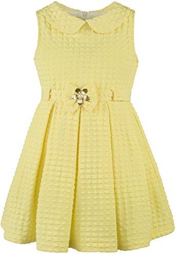 Lilax Little Girls' Solid Sleeveless Easter Toddler Princess Dress with Belt 4T Yellow (School Girl Fancy Dress Ideas)