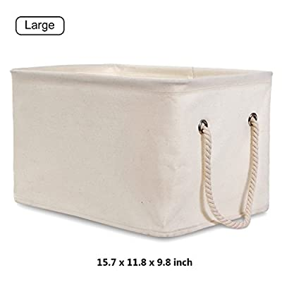 Lifewit Polyester Storage Bins Basket with Strong Cotton Rope Handle for Kid's Toys, Blankets, Clothes Perfect for Home Office Closet, Bamboo Style, Large - PREMIUM MATERIALS: The storage basket is made of polyester and cotton for shape maintenance and durability, while the interior features PEVA waterproof coating to to keep inside dry. LARGE CAPACITY: The storage basket has a maximum capacity of 30 L (15.7× 11.8 × 9.8 in). Keep the storage basket in any room that needs extra storage, it is perfect for storing bedding set, books, laundries, kid's toys, and much more. SUPPORT FRAME: Metal wire frames add strength and rigidity to the storage container, and allow it to be stacked without twisting or distorting. - living-room-decor, living-room, baskets-storage - 41HDSG0cwaL. SS400  -
