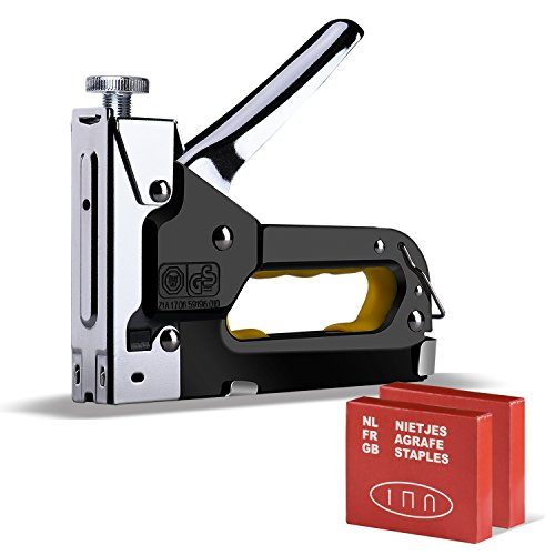 Staple Gun, Moson 3 in 1 Heavy Duty Staple/Brad Nail Gun, 3 Way Tacker with 600 Staples for Fixing Material, Decoration, Carpentry, Furniture, Doors And Windows, Billboards