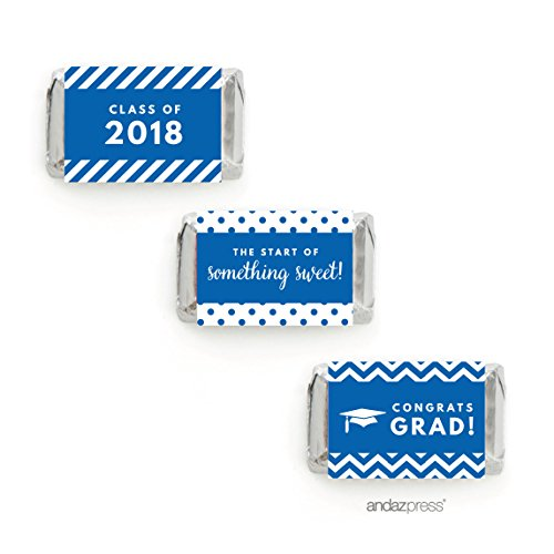 Andaz Press Chocolate Minis Labels Trio, Fits Hershey's Miniatures, Graduation 2019, Royal Blue, 36-Pack