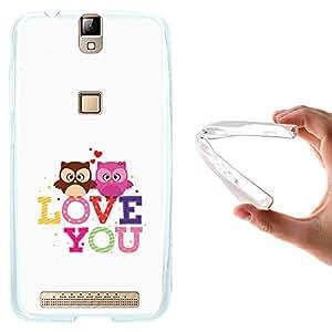 Funda Elephone P8000, WoowCase [ Elephone P8000 ] Funda Silicona Gel Flexible Buhos Corazón Frase - Love You, Carcasa Case TPU Silicona - Transparente