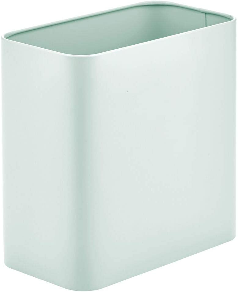 mDesign Rectangular Metal Trash Can Wastebasket, Garbage Container Bin - for Bathrooms, Powder Rooms, Kitchens, Home Offices - Mint Green