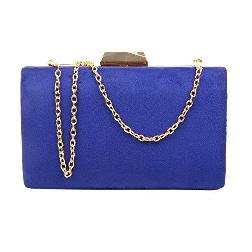 lanière rigide Roi bal haute soirée Pochette faux chaîne compact daim mariage DIVA Medium Roi Sac NEUF femmes Bleu Bleu 'S pour x8xgR