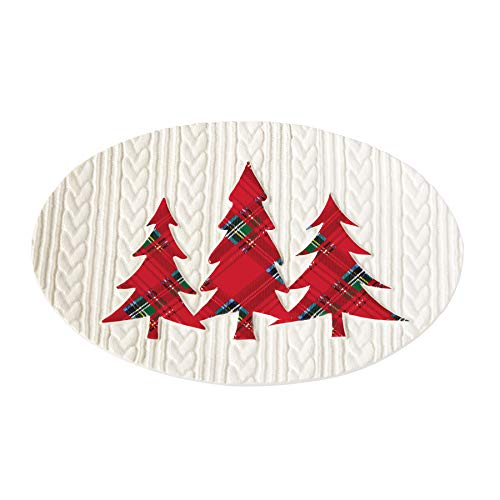 Mud Pie 4074145 Tartan Tree Cable Knit Holiday Serving Platter, One size, White, red