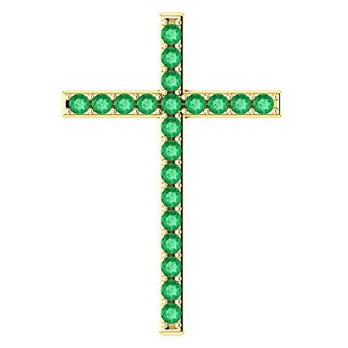 People of His Pasture Emerald Cross Pendant, 18K Yellow Gold