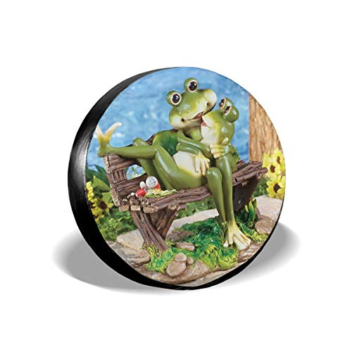 """Dark Marlin Spare Tire Cover Happy Frog Couple So Hoppy Together Printed Univesal Tire Cover for Jeep, Trailer, RV, SUV, Truck Wheel and Many Vehicle 14"""" 15"""" 16"""" 17"""" DIY"""