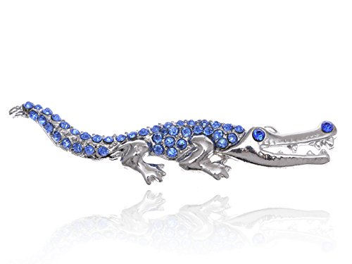Alilang Sapphire Blue Rhinestone Shiny Silvery Tone Crocodile Alligator Animal Pin Brooch