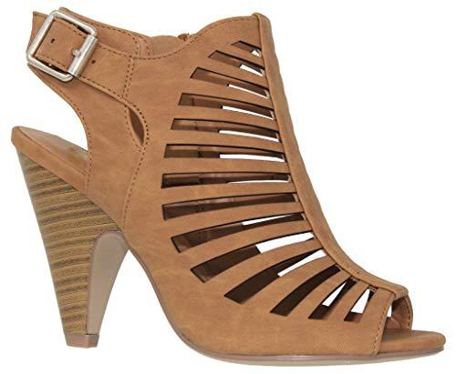 MVE Shoes Women's Chunky Heel Open Toe Back Zipper Heeled Sandal, tan Size 10 ()