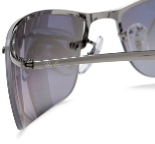 004 Silver 82 82 in Sunglasses Polarised Half Gunmetal Gunmetal Grey RB3183 RB3183 Ban Mirror Ray 63 004 Rim 63 aqw8I7Z7