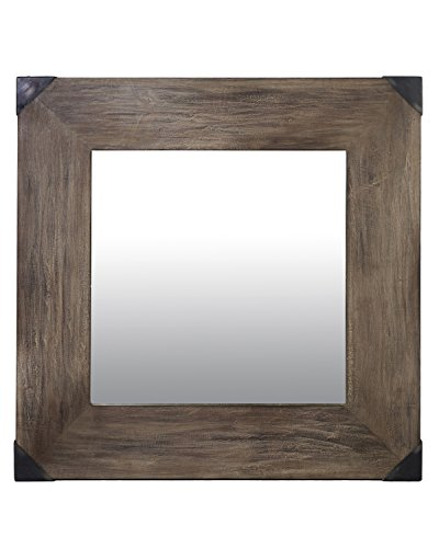 East at Main Draco Natural Rustic Square Mahogany Mirror, 31.5''x1''x31.5'' by East At Main