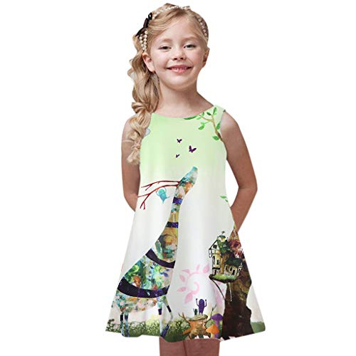 (Baby Girl's Princess Party Dresses Sveless Floral Print Loose Casual Holiday Long Maxi Dress Kids 4-9 Years Light)