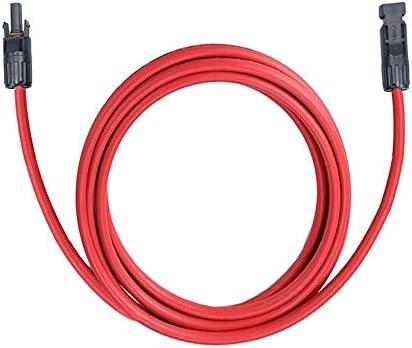 JJDD MC4 Solar-Adapterkabel, 1 Stück, wasserdicht, 12 AWG (4 mm2) Draht, 1,5 m, Solarmodul-Verlängerungskabel mit Buchse und Stecker für Solarpanel-System, Rot