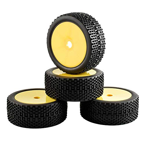LAFEINA 4PCS 17mm Hex 1:8 Buggy Tires Wheel Rim Set for 1/8 HPI HSP Off-Road Buggy Car Parts(Yellow)