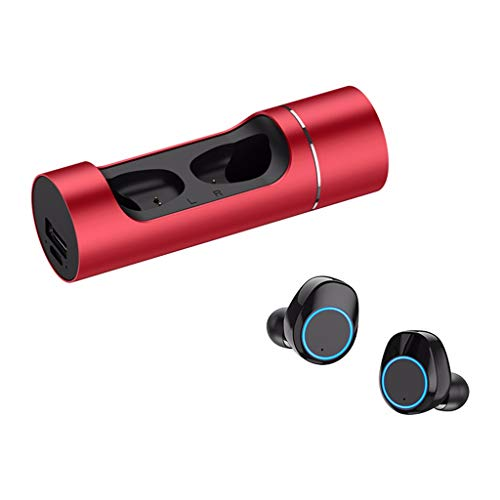 Price comparison product image BIYATE Headphones Wireless Bluetooth,  Wireless Bluetooth Earbuds,  Latest Bluetooth True Wireless Bluetooth Earbuds 3D Stereo Sound Wireless,  Built-in Microphone (Red)