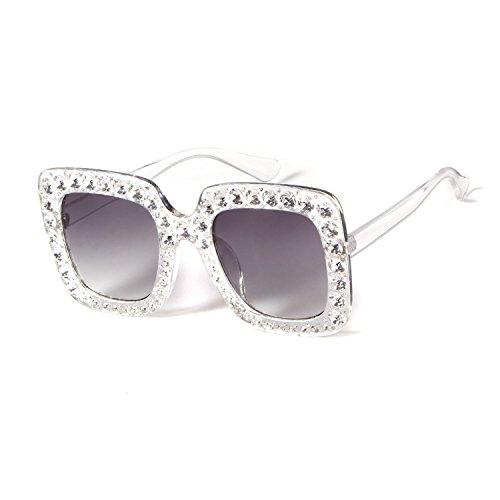 Oversize Square Crystal Sunglasses Women Luxury Brand Designer Shades - Luxury Shades