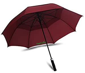 TheFitLife Large Golf Umbrella 62-inch Double Canopy 8 Ribs Durable and Strong Enough for the Fierce Wind and Heavy Rain Red Color Sturdy and Portable Windproof