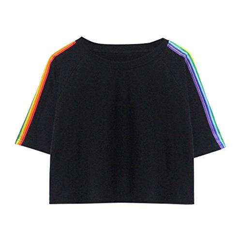 Aniywn Women Girls Rainbow Stripe Short Sleeve T-Shirt Casual Patchwork Short Sweatshirt Hoodie Tops - Patchwork Boys Shorts