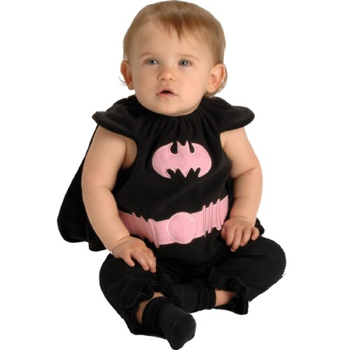 DC Comics Deluxe Pink and Black Batgirl Bib and Cape, 0-9 Months Costume (Pretty Cartoon Girls)