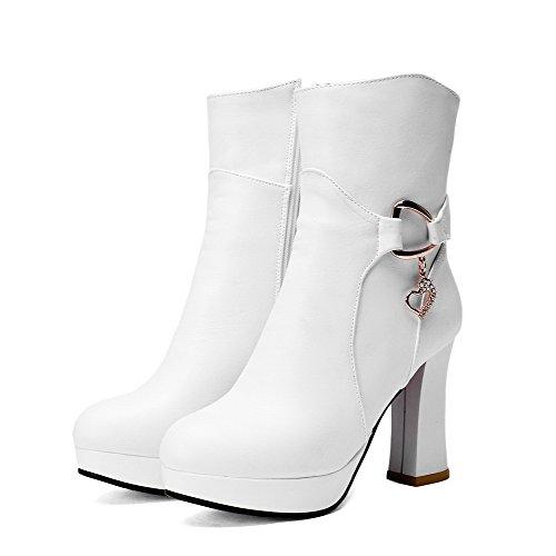 Amoonyfashion Mujeres Pu Zipper Mid-top Tacones Altos Botas Sólidas Con Encantos, Cremalleras Blancas, 41