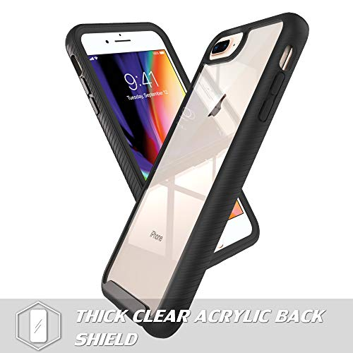 LUCKYCAT iPhone 7 Plus Case,iPhone 8 Plus Case with Tempered Glass Screen Protector [2 Pack], Shockproof Clear Multicolor Series Bumper Cover for 5.5 Inch Apple iPhone 6/6s/7/8 Plus-Black