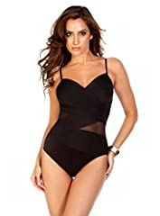 Peek into pretty as mesh cut outs in the Miraclesuit Solid Mystify Swimsuit show off a hint of skin while glamorously slimming your silhouette. A sweetheart neckline and adjustable straps make a point to emphasize the bust shoulders and every...