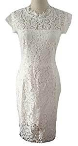 MEROKEETY Women's Sleeveless Lace Floral Elegant Cocktail Dress Crew Neck Knee Length Party